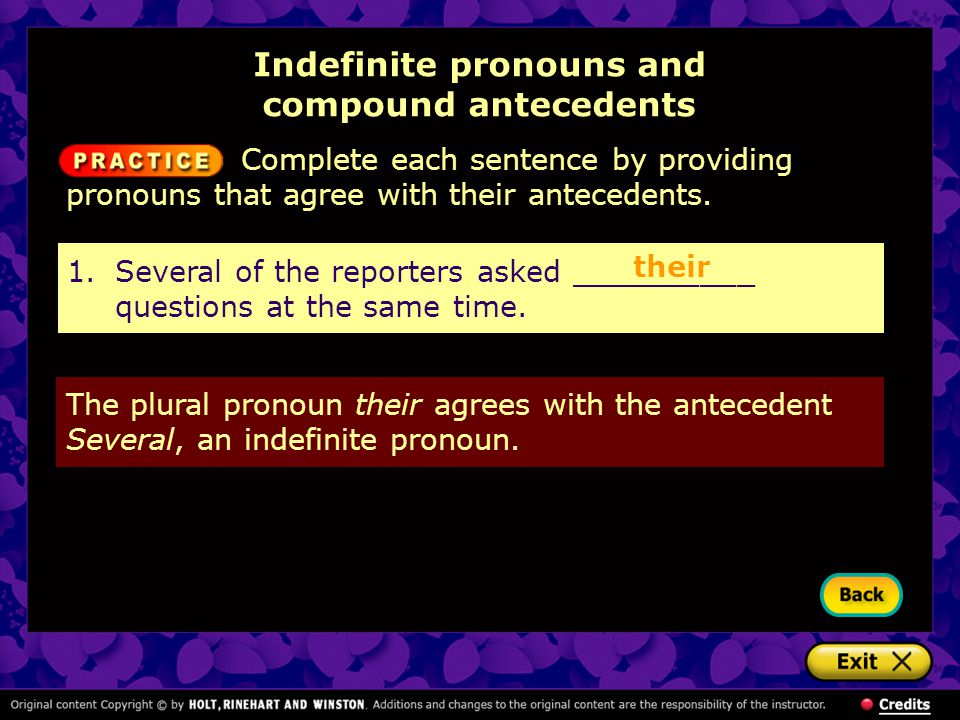 Indefinite pronouns and compound antecedents