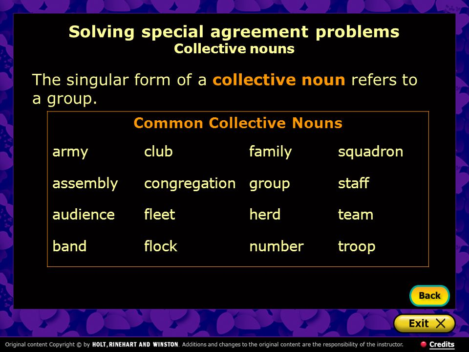 Solving special agreement problems Collective nouns