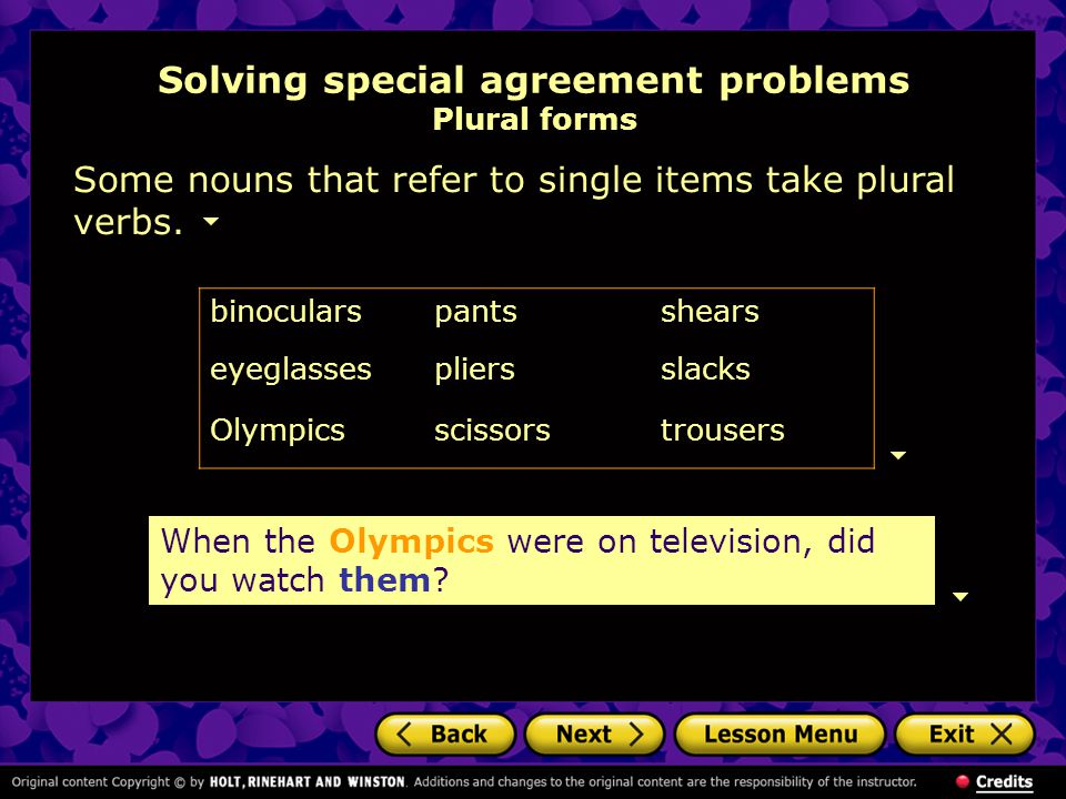 Solving special agreement problems Plural forms