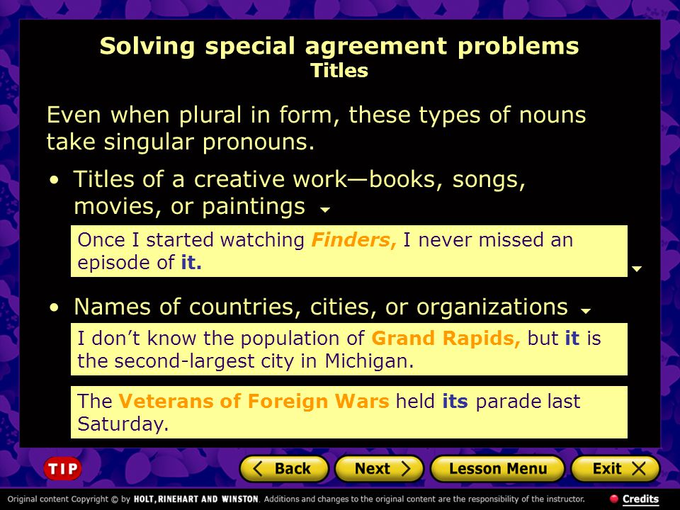 Solving special agreement problems Titles