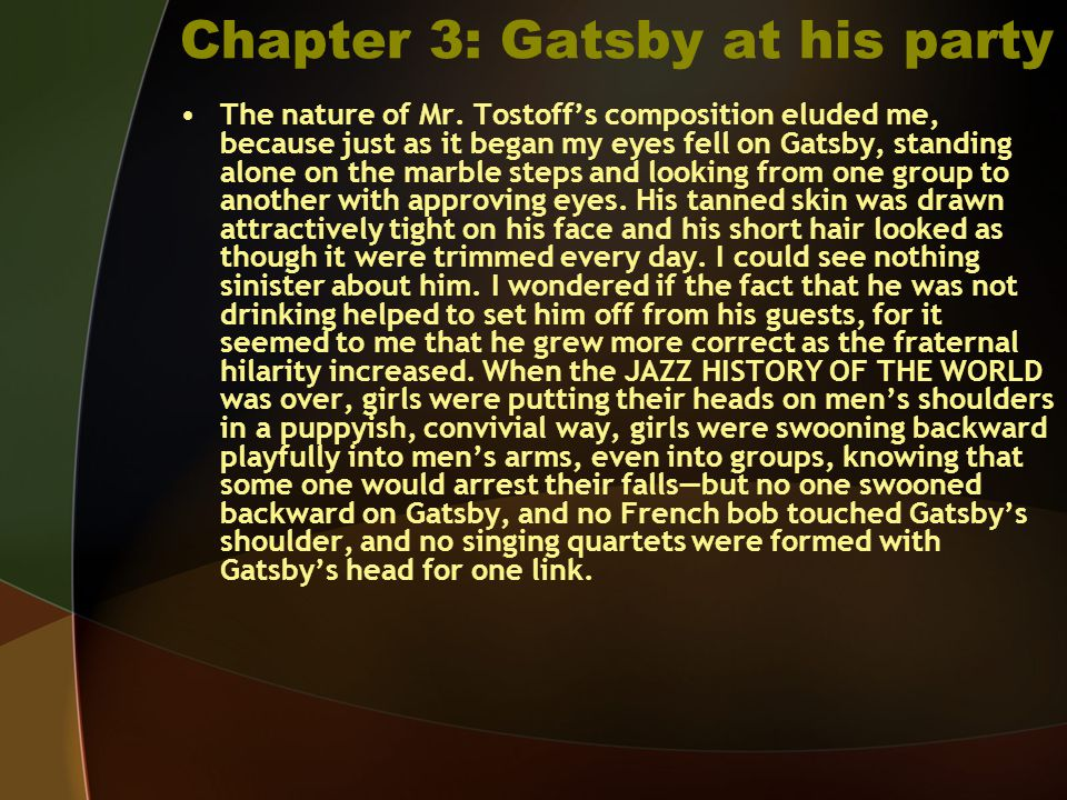 Chapter 3: Gatsby at his party