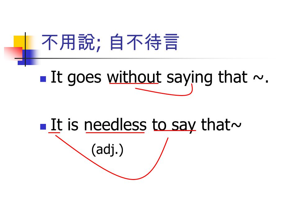 不用說; 自不待言 It goes without saying that ~. It is needless to say that~