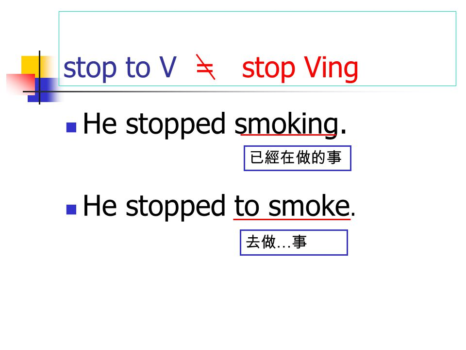 stop to V = stop Ving He stopped smoking. He stopped to smoke. 已經在做的事