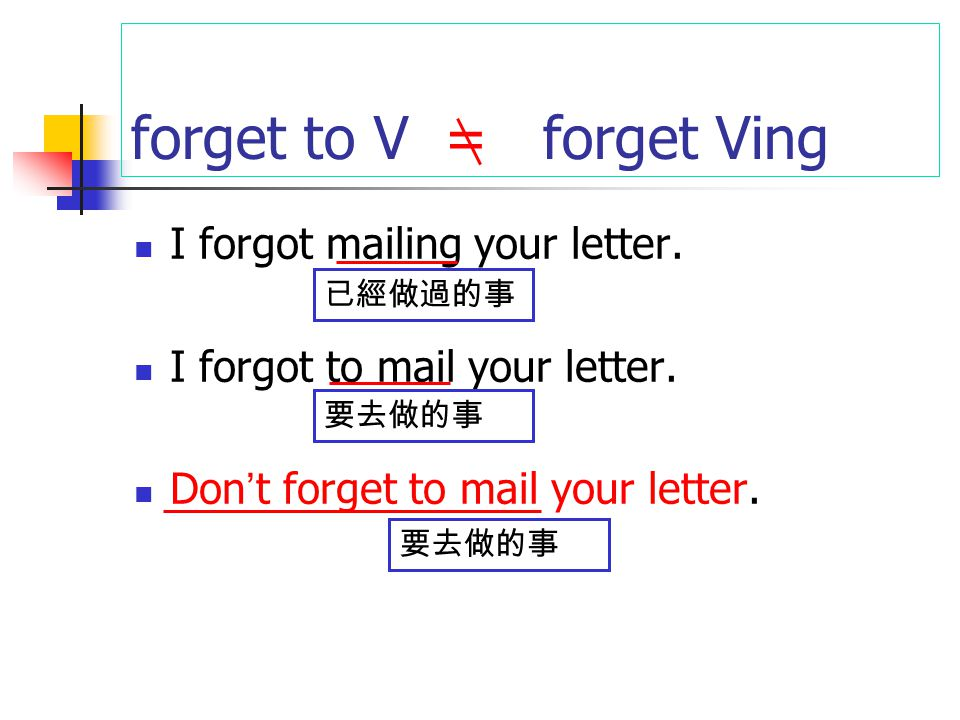 forget to V = forget Ving