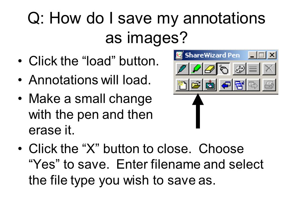 Q: How do I save my annotations as images