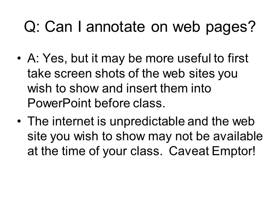 Q: Can I annotate on web pages