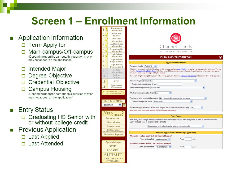 Screen 1 – Enrollment Information