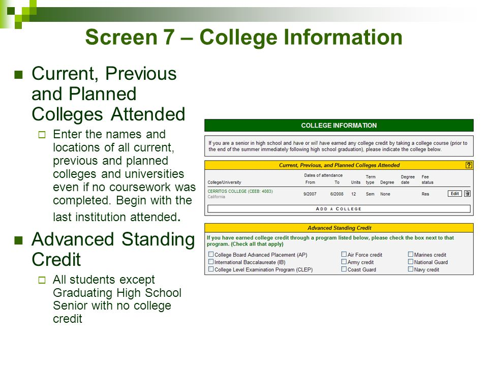 Screen 7 – College Information