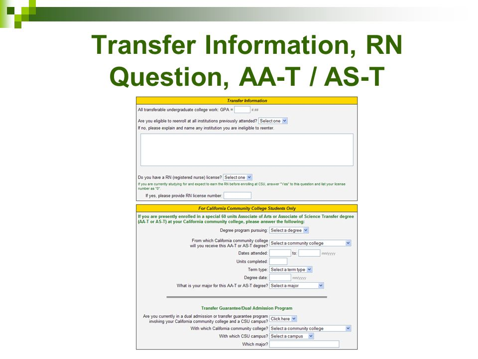 Transfer Information, RN Question, AA-T / AS-T