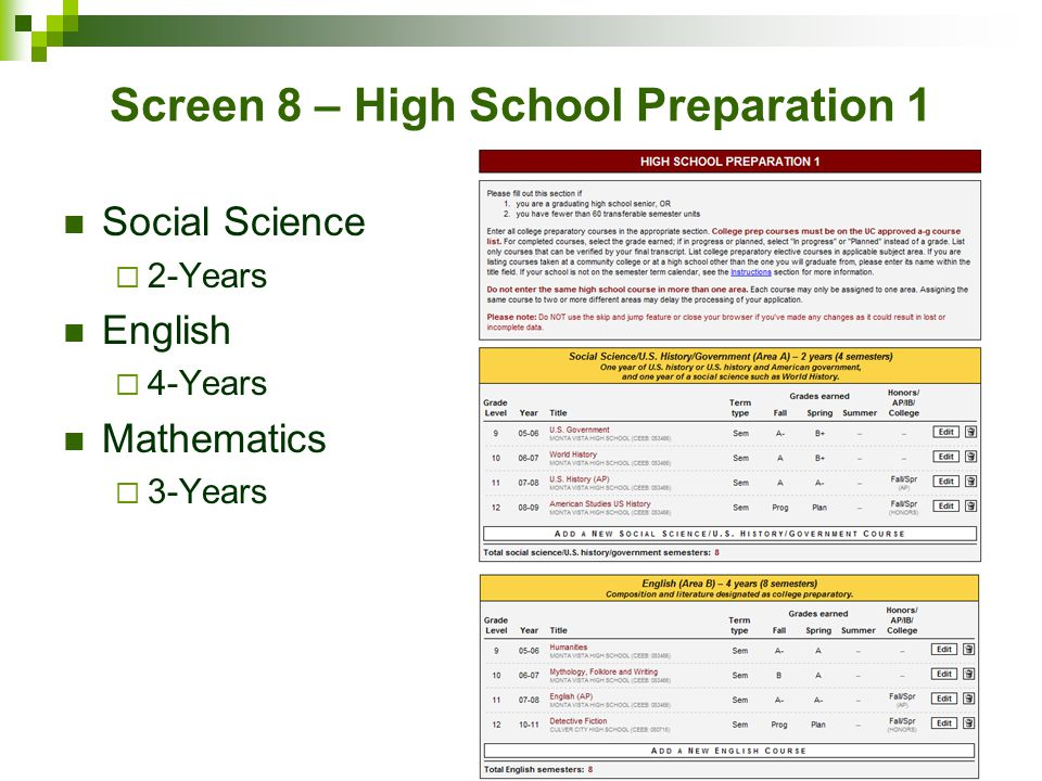 Screen 8 – High School Preparation 1