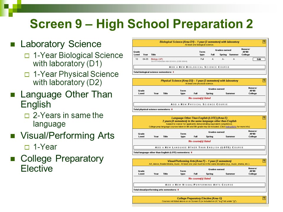 Screen 9 – High School Preparation 2