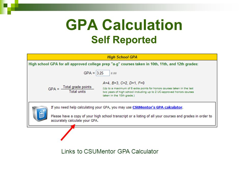 GPA Calculation Self Reported
