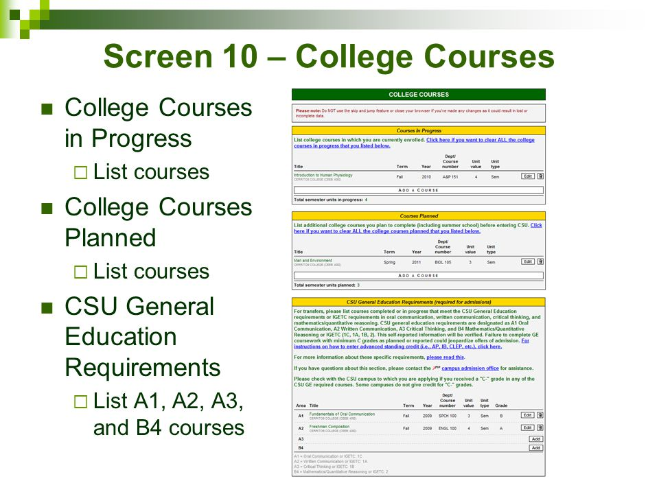 Screen 10 – College Courses