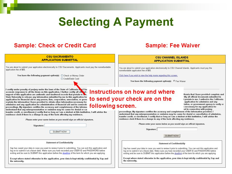 Selecting A Payment Sample: Check or Credit Card Sample: Fee Waiver