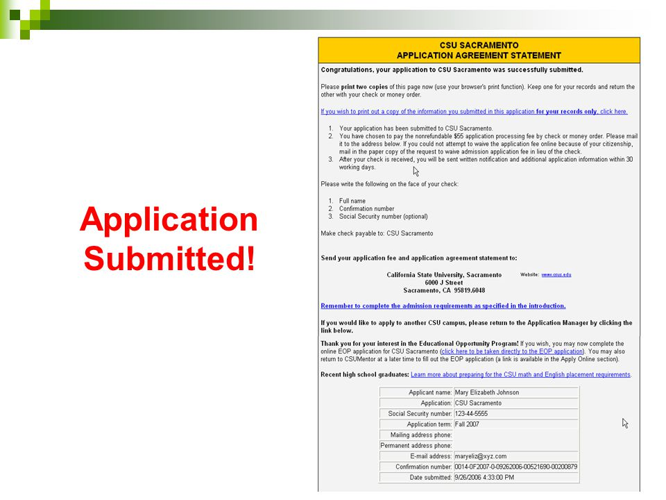 Application Submitted!