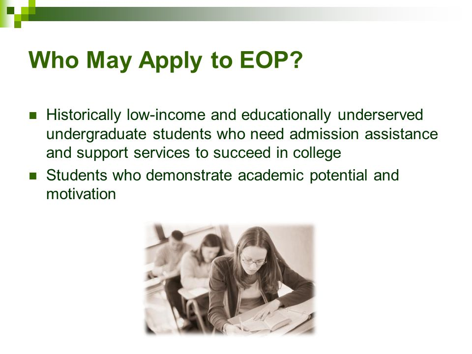 Who May Apply to EOP