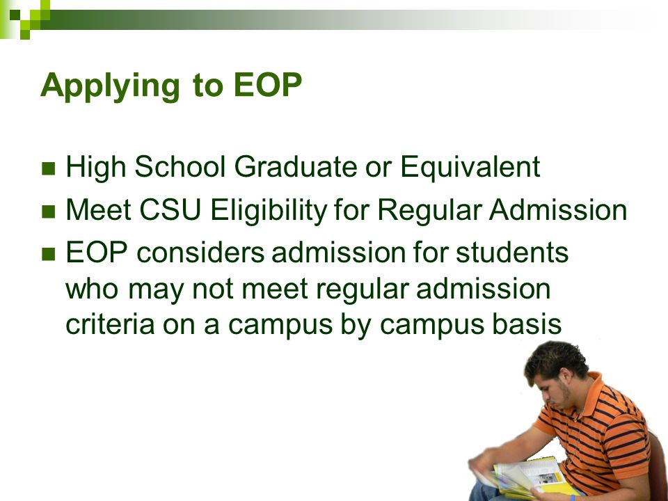 Applying to EOP High School Graduate or Equivalent