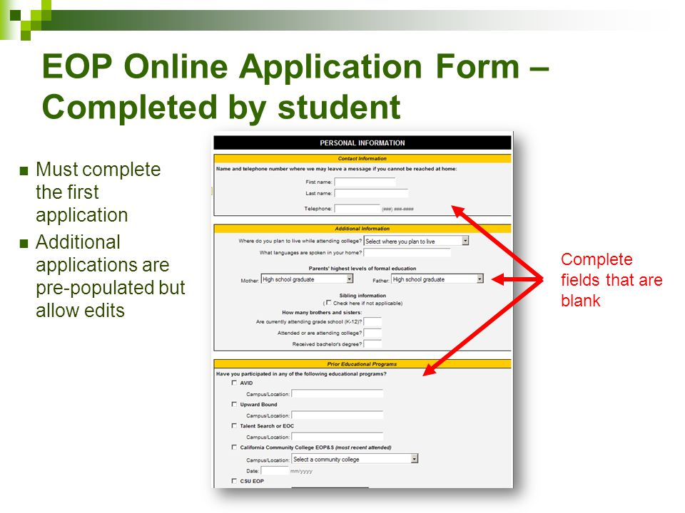 EOP Online Application Form – Completed by student