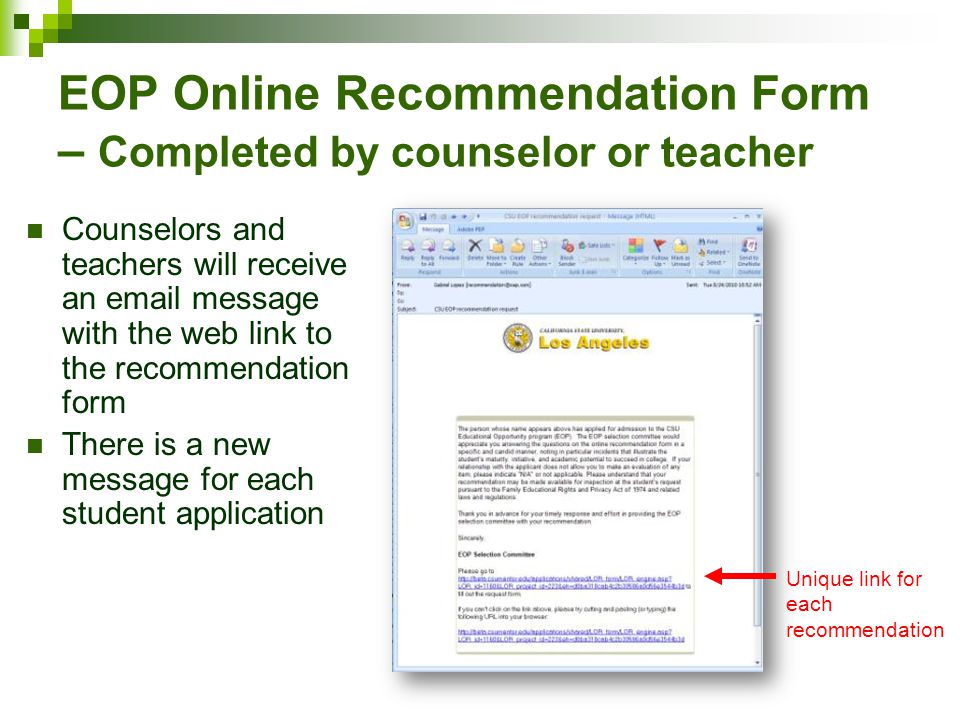 EOP Online Recommendation Form – Completed by counselor or teacher