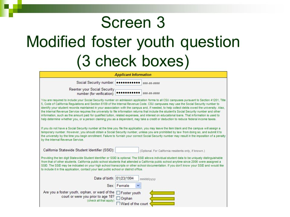 Screen 3 Modified foster youth question (3 check boxes)