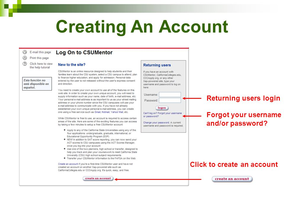 Creating An Account Returning users login Forgot your username