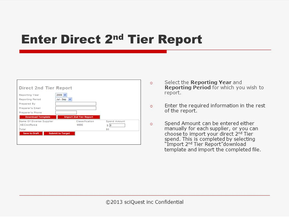 Enter Direct 2nd Tier Report