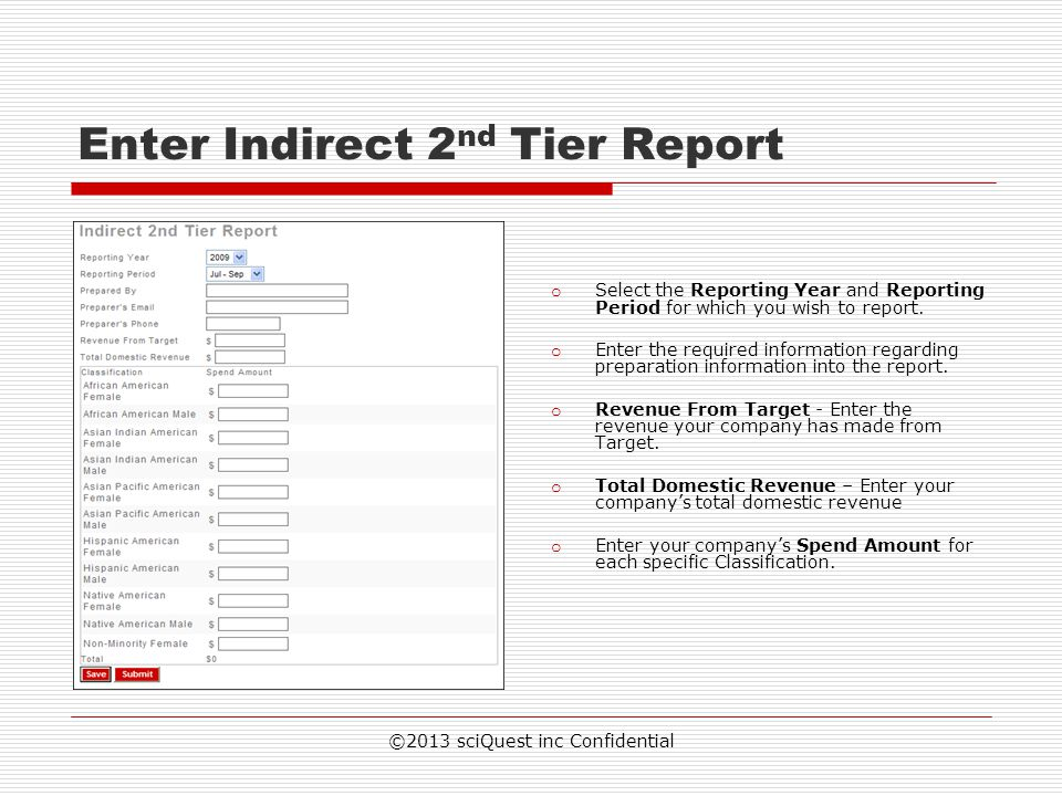 Enter Indirect 2nd Tier Report