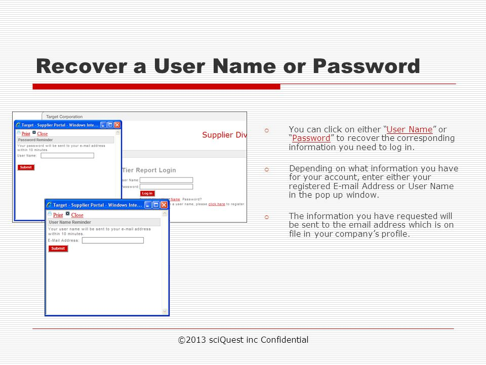 Recover a User Name or Password