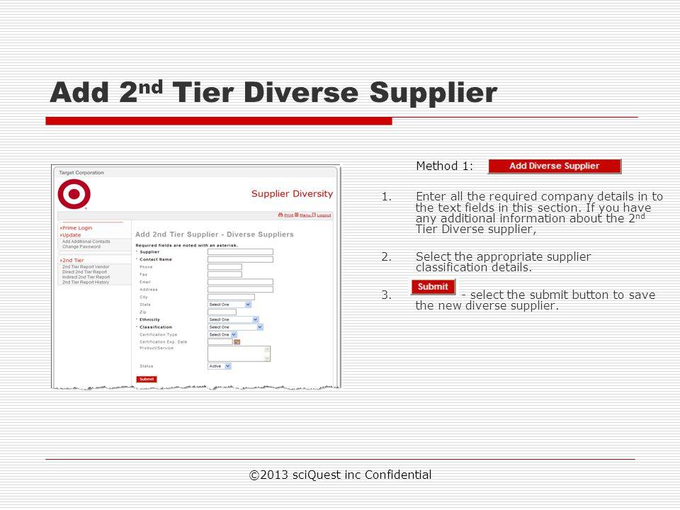 Add 2nd Tier Diverse Supplier