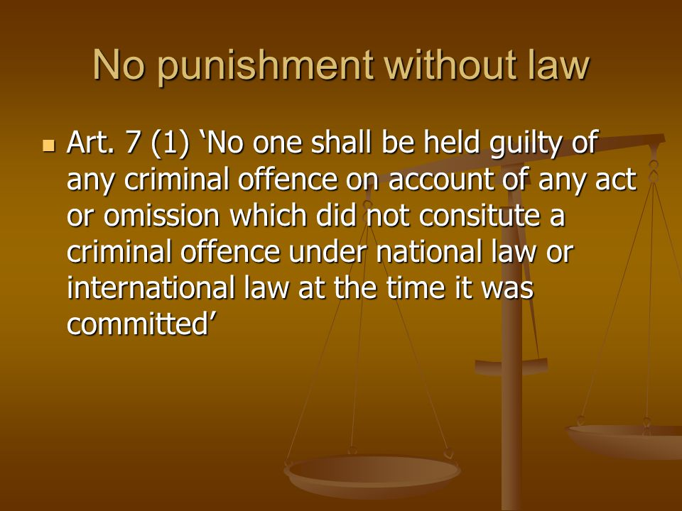 No punishment without law