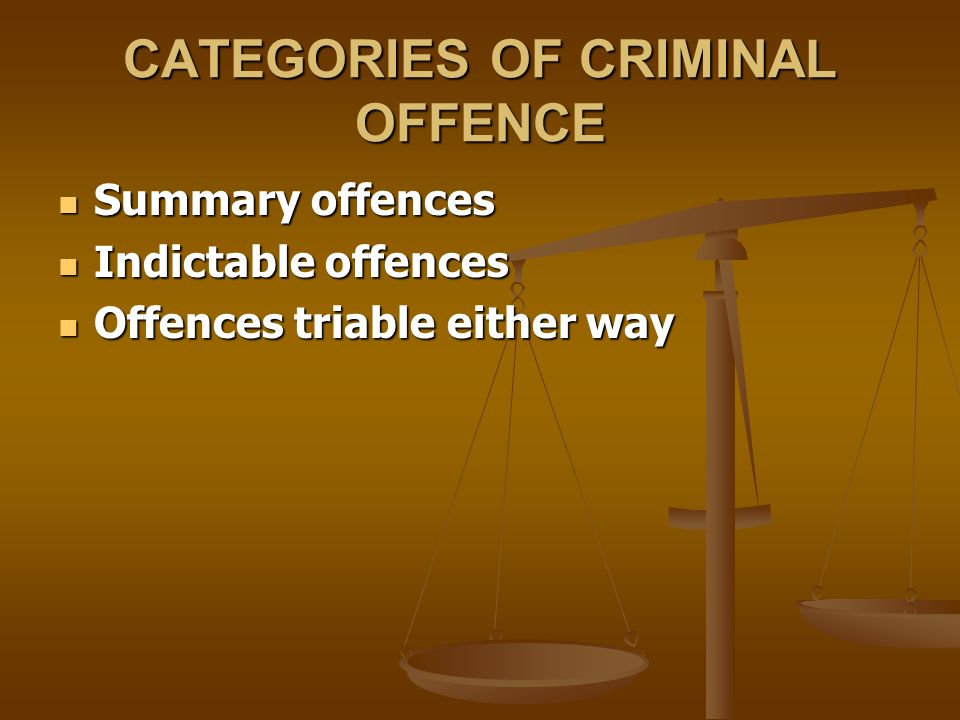 CATEGORIES OF CRIMINAL OFFENCE