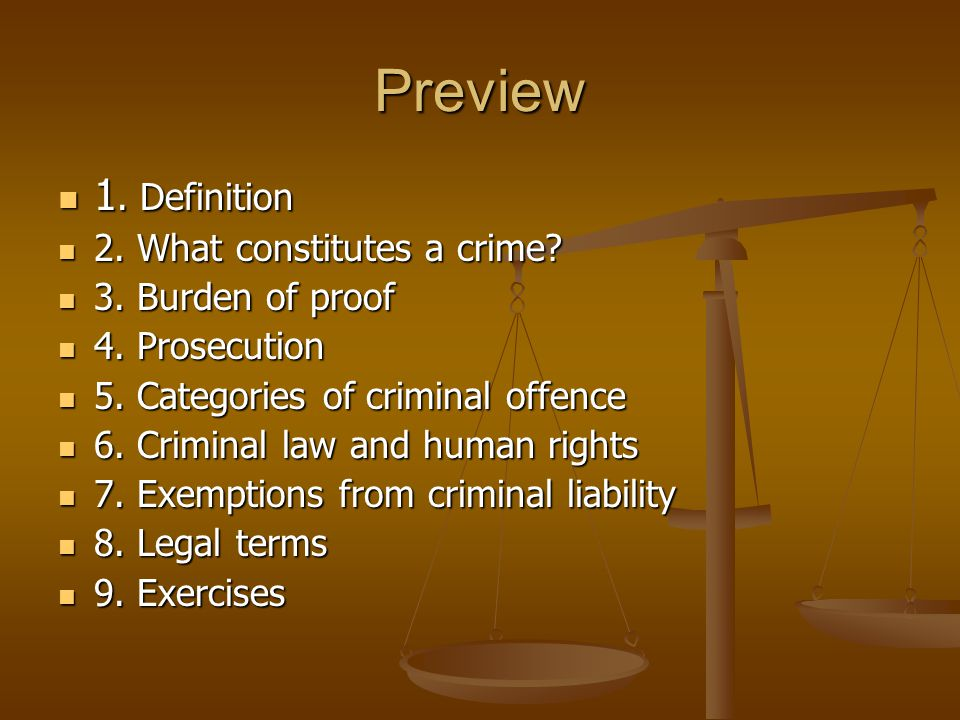 Preview 1. Definition 2. What constitutes a crime 3. Burden of proof