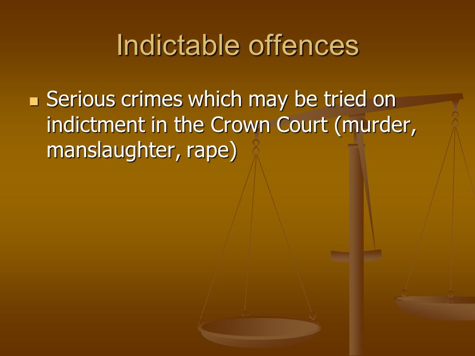 Indictable offences Serious crimes which may be tried on indictment in the Crown Court (murder, manslaughter, rape)