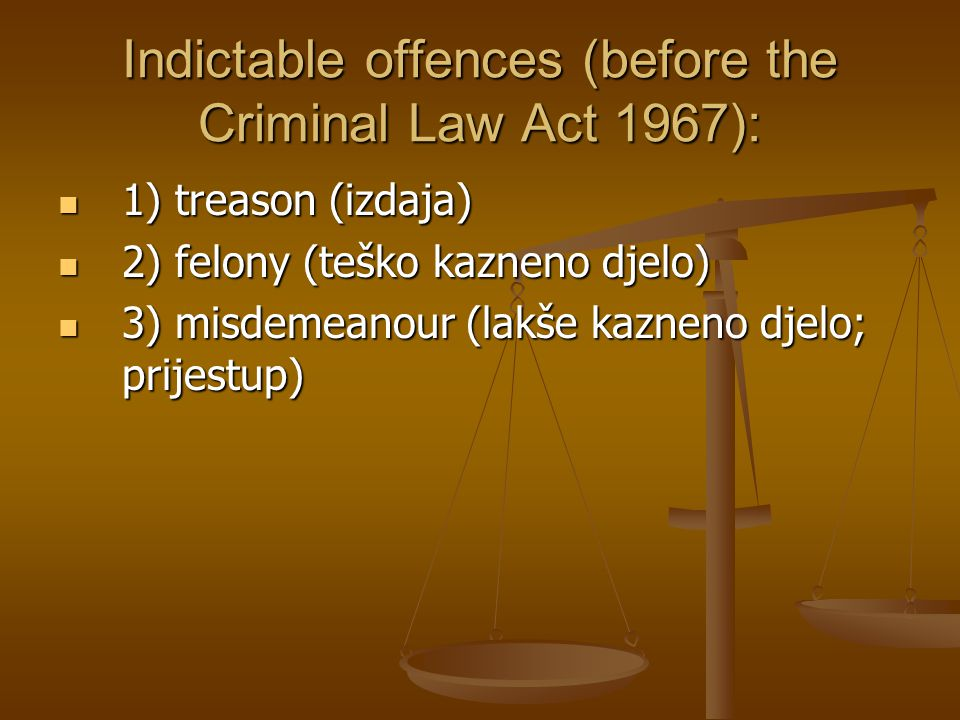 Indictable offences (before the Criminal Law Act 1967):