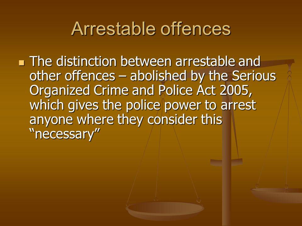 Arrestable offences
