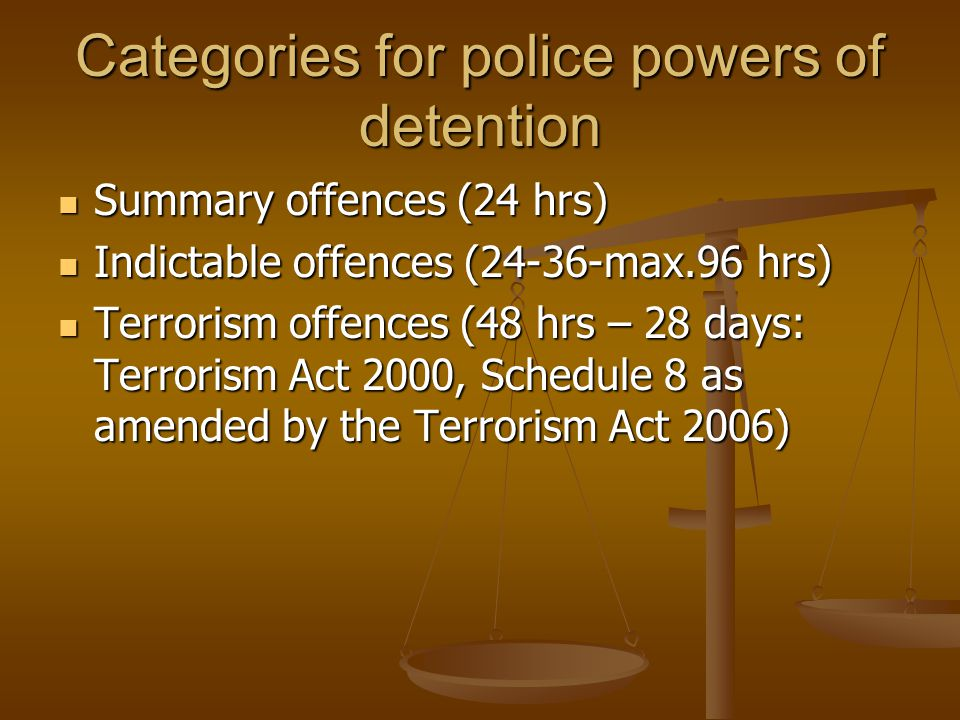 Categories for police powers of detention