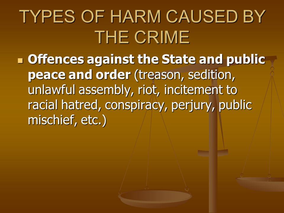 TYPES OF HARM CAUSED BY THE CRIME