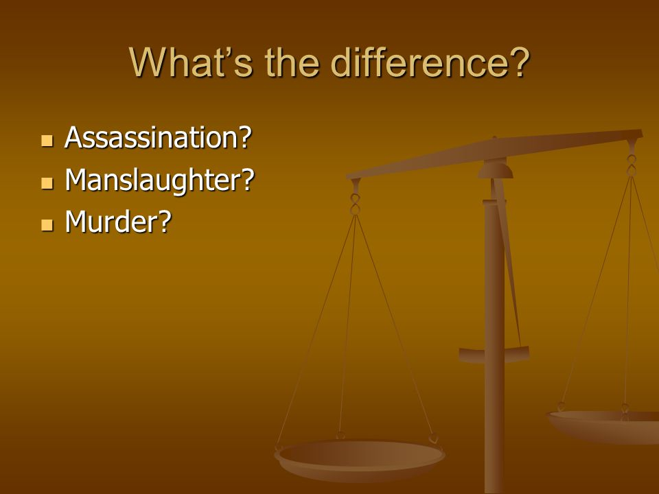 What's the difference Assassination Manslaughter Murder