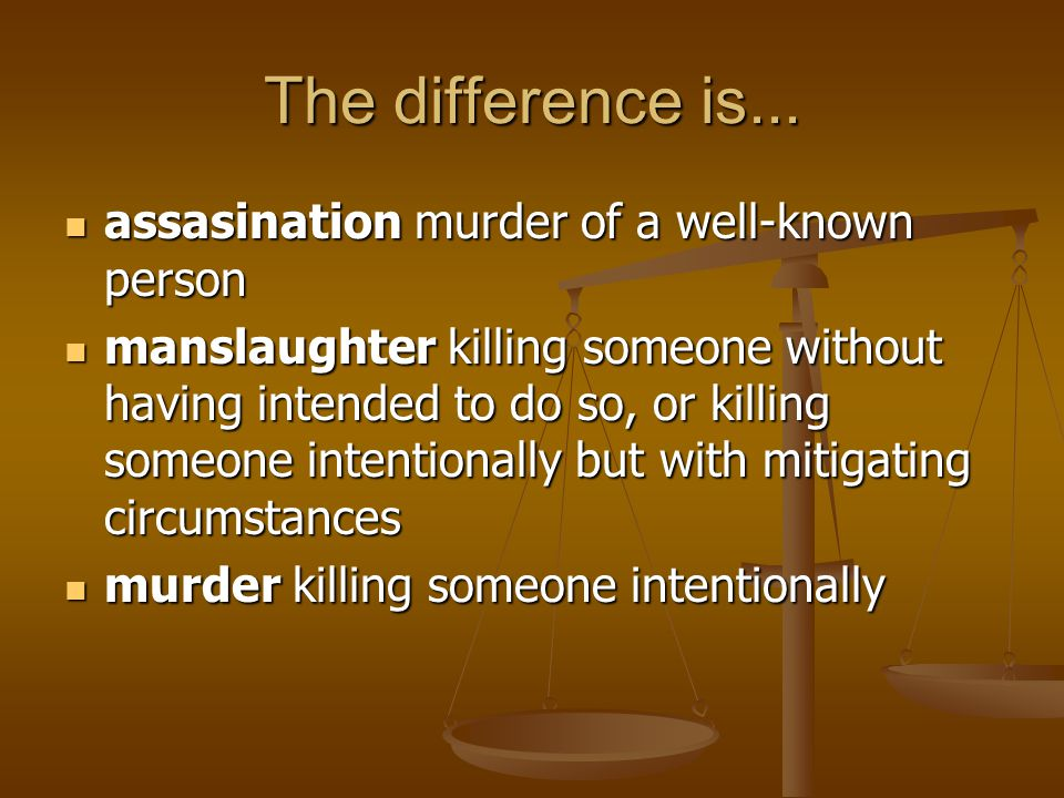 The difference is... assasination murder of a well-known person