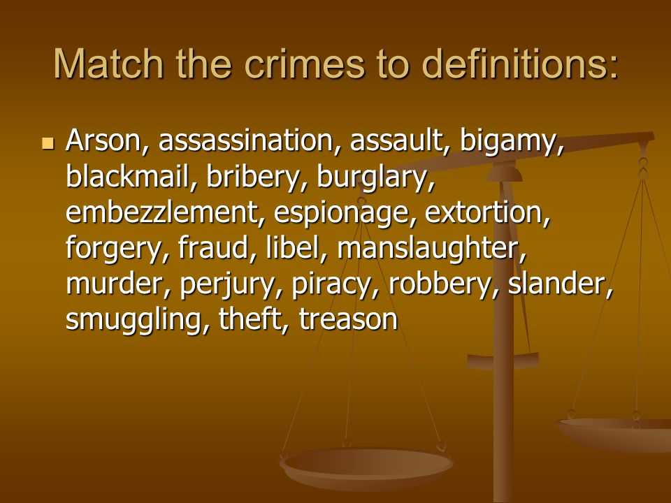 Match the crimes to definitions: