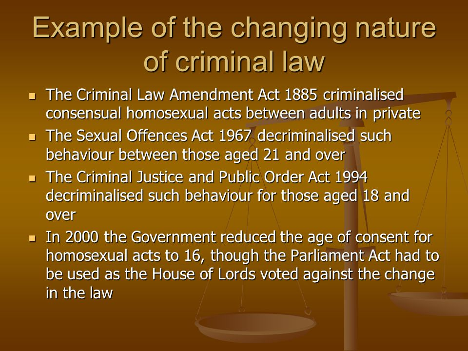 Example of the changing nature of criminal law