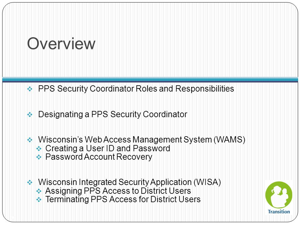 Overview PPS Security Coordinator Roles and Responsibilities