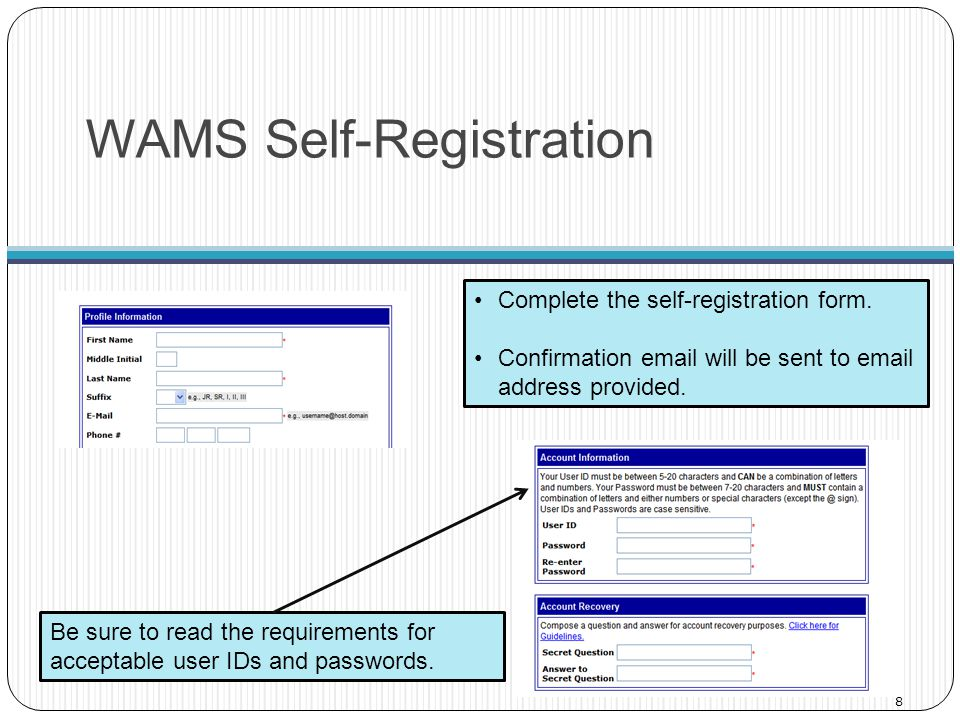 WAMS Self-Registration