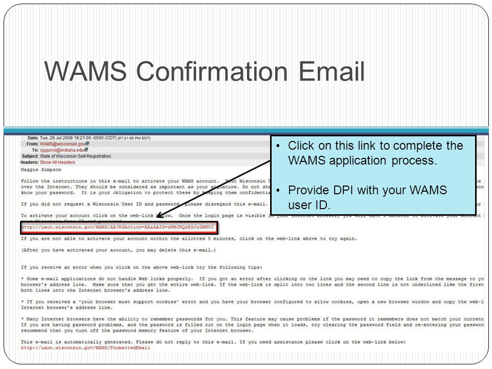 WAMS Confirmation Email