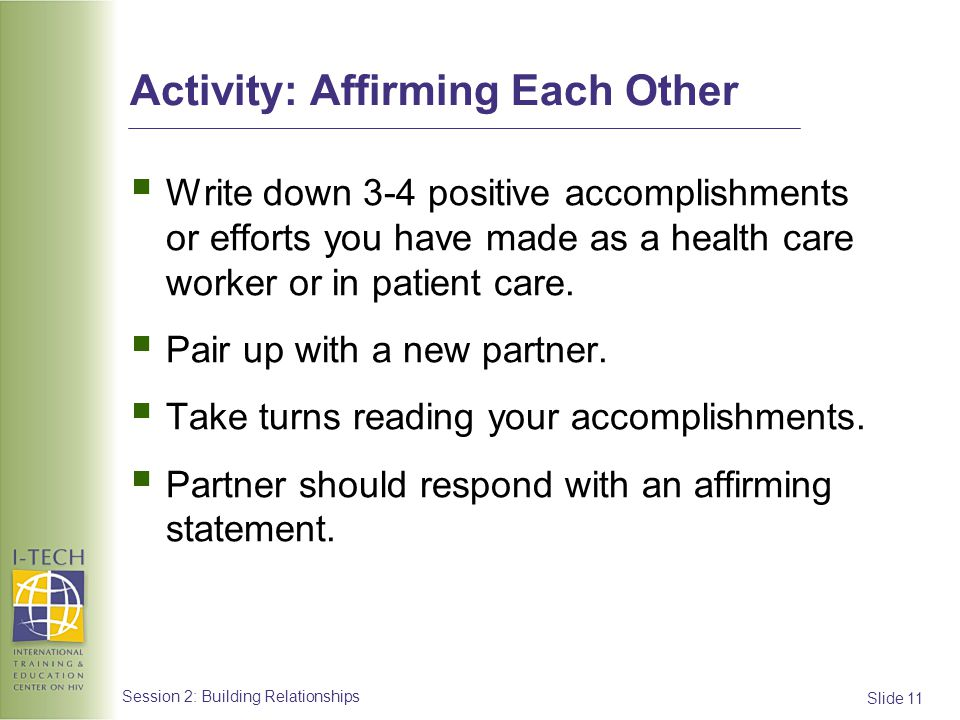 Activity: Affirming Each Other