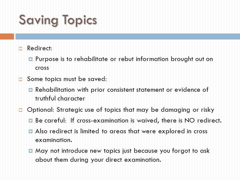 Saving Topics Redirect: