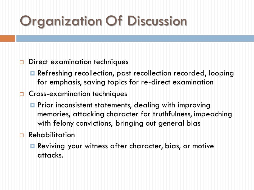 Organization Of Discussion
