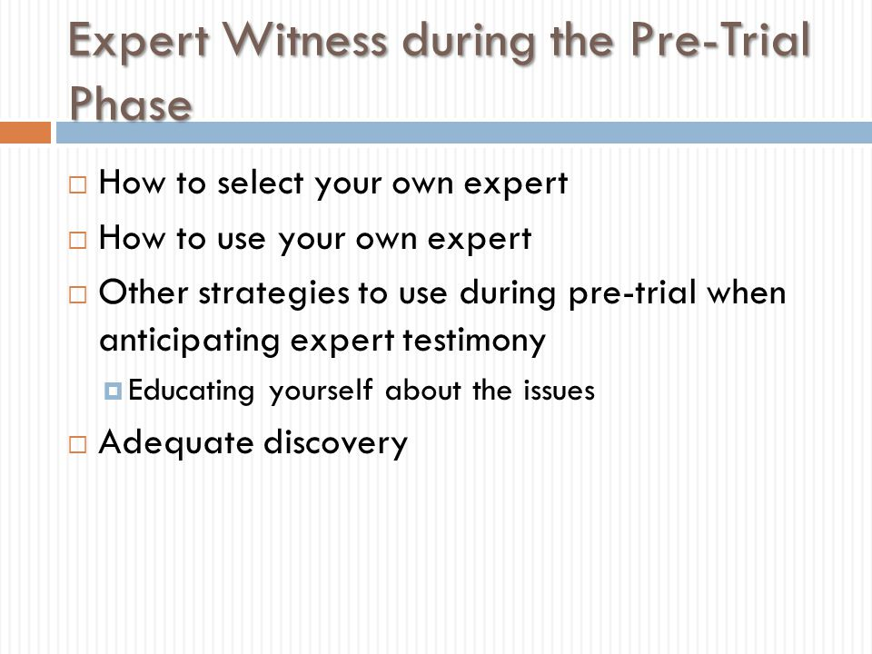 Expert Witness during the Pre-Trial Phase