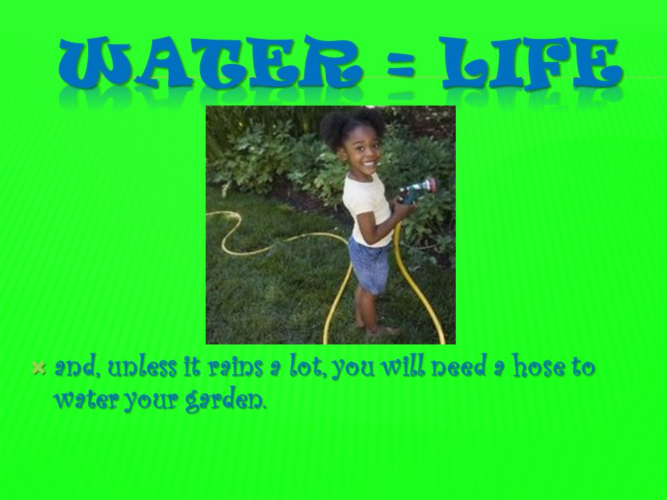 Water = life and, unless it rains a lot, you will need a hose to water your garden.