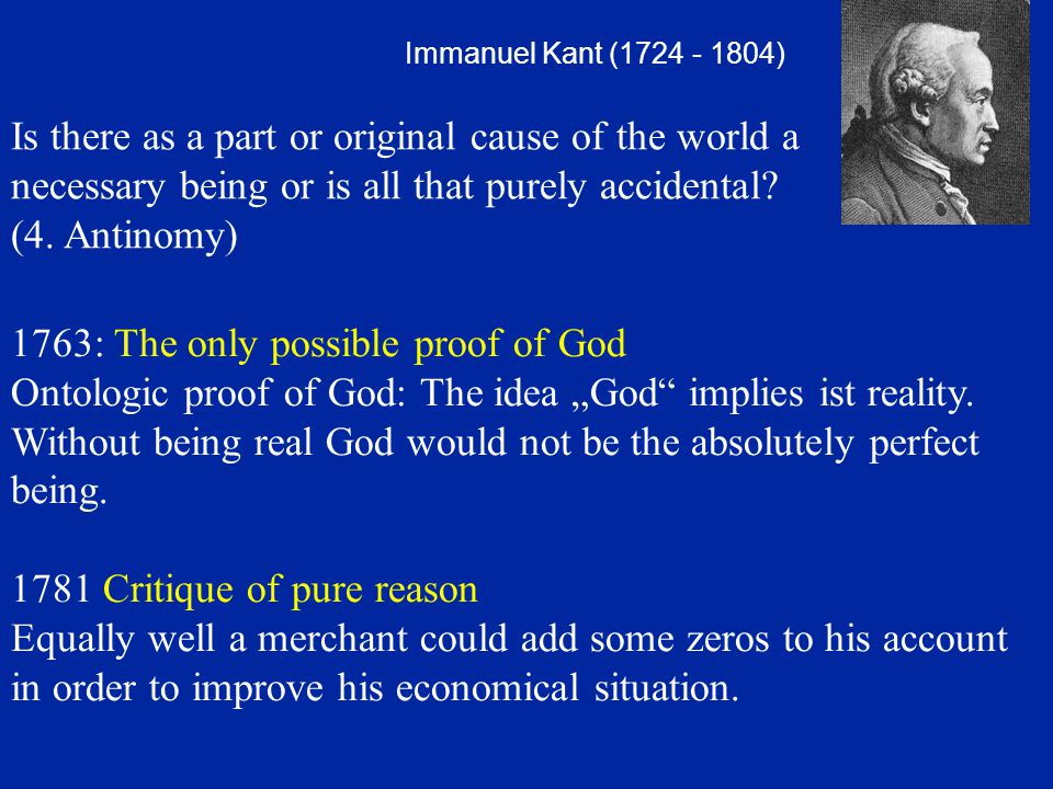 1763: The only possible proof of God